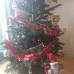 De kerstboom staat zowaar recht (da's ook wel eens anders geweest)