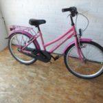 De nieuwe roze fiets.